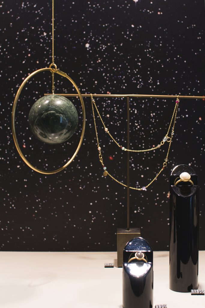 Small simple hanging Galaxy Globe designed and handmade by Kaja Skytte